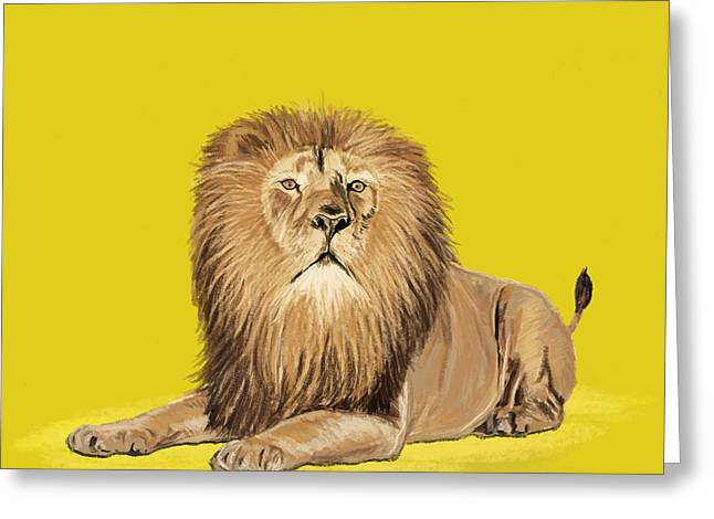 Fur Pastels Greeting Cards - Lion painting Greeting Card by Setsiri Silapasuwanchai