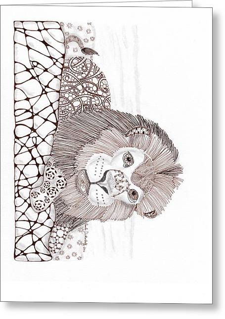 Lions Drawings Greeting Cards - Lion Greeting Card by Paula Dickerhoff
