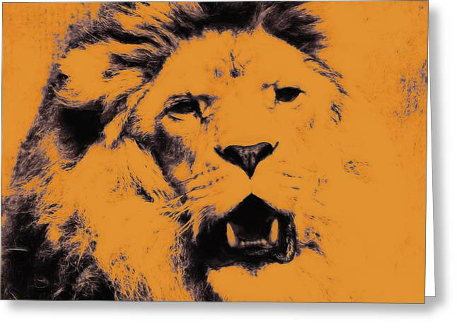 Lion Pop Art Greeting Card by Angela Doelling AD DESIGN Photo and PhotoArt