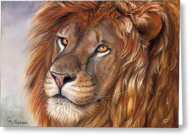 Africa Pastels Greeting Cards - Lion portrait Greeting Card by Svetlana Ledneva-Schukina
