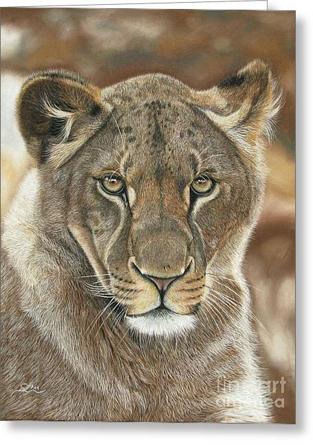 Jaguars Pastels Greeting Cards - Lion Queen Greeting Card by Sabine Lackner
