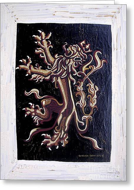 Rampant Greeting Cards - Lion Rampant Greeting Card by Genevieve Esson