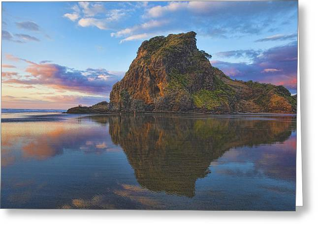 Sea Lions Greeting Cards - Lion Rock at Sunset Greeting Card by Brent Snow