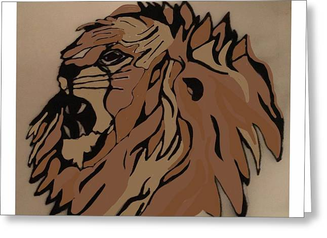Lion Side Greeting Card by Erika Chamberlin