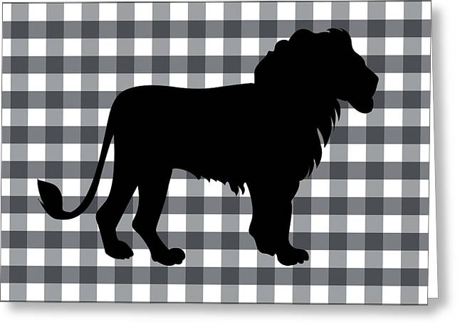 Cabin Wall Greeting Cards - Lion Silhouette Greeting Card by Linda Woods