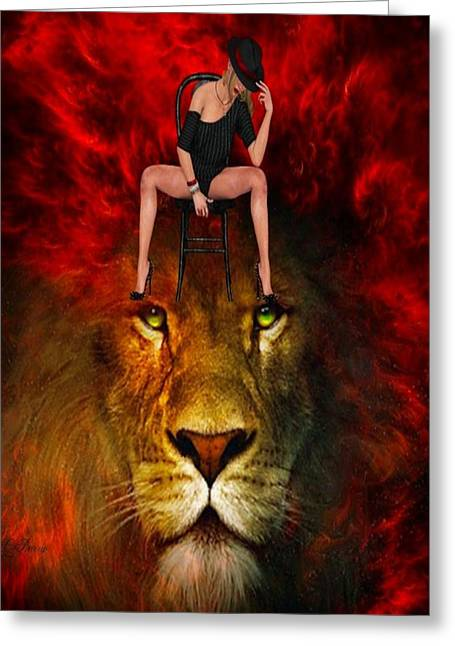 Tamer Greeting Cards - Lion Tamer # 2 Greeting Card by G Berry