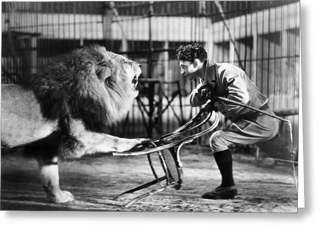 Lion Tamer, 1930s Greeting Card by Granger