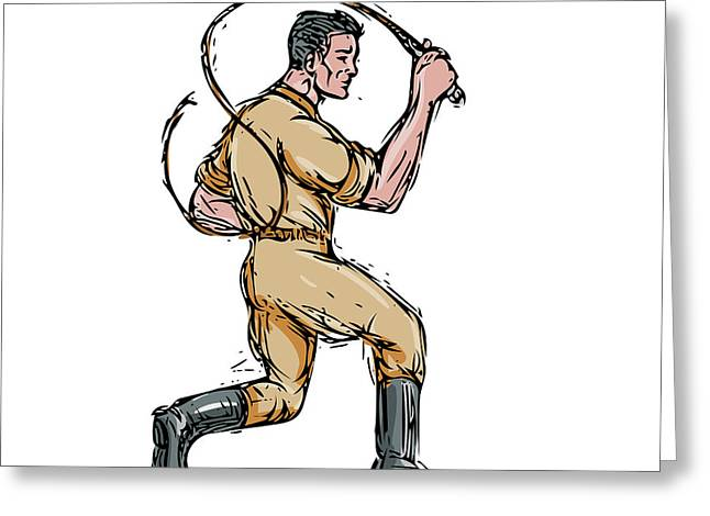 Lion Tamer Bullwhip Isolated Drawing Greeting Card by Aloysius Patrimonio