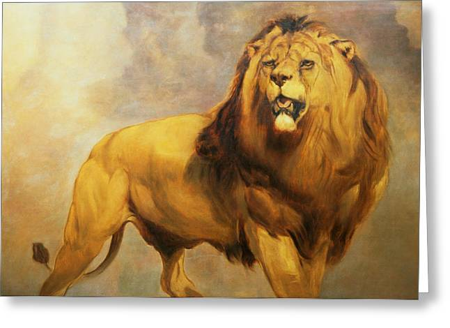 1820 Greeting Cards - Lion  Greeting Card by William Huggins