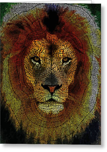 Kingship Greeting Cards - Lion Word Mosaic Greeting Card by Hans Fleurimont