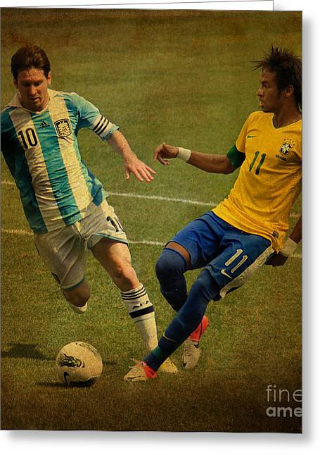 Super Stars Greeting Cards - Lionel Messi and Neymar Junior Vintage Photo Greeting Card by Lee Dos Santos