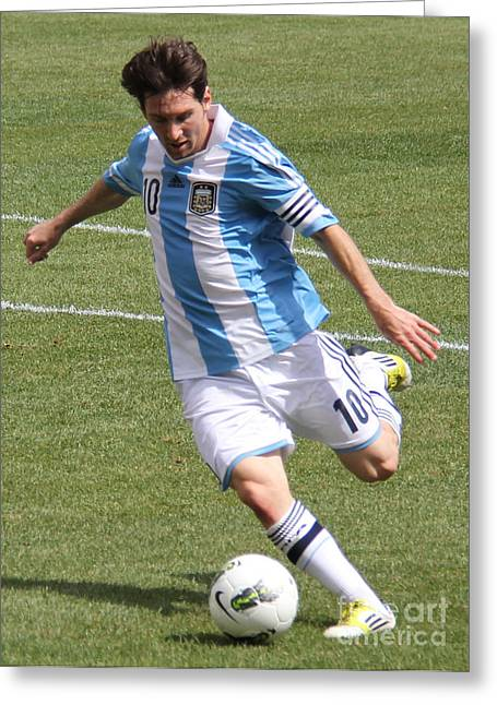 Clash Of Worlds Greeting Cards - Lionel Messi Kicking Greeting Card by Lee Dos Santos
