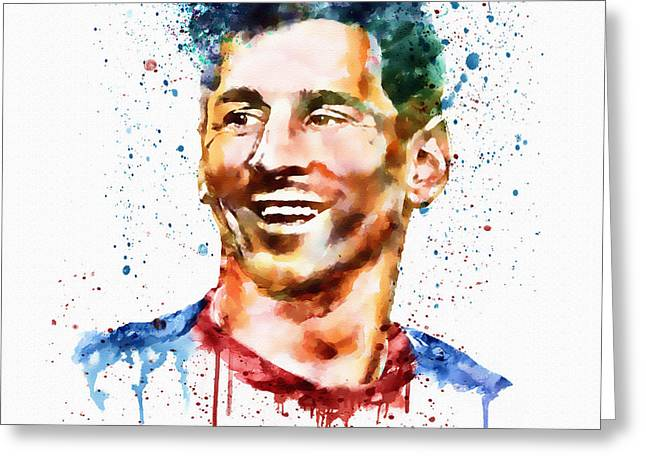 Lionel Greeting Cards - Lionel Messi watercolor portrait Greeting Card by Marian Voicu