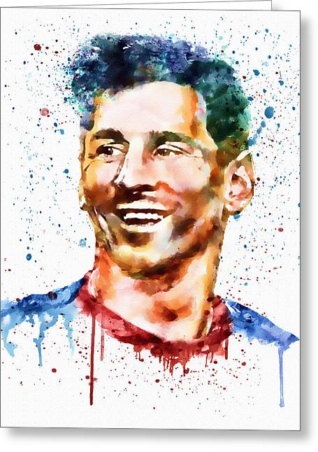 Lionel Messi Greeting Cards - Lionel Messi watercolor portrait Greeting Card by Marian Voicu