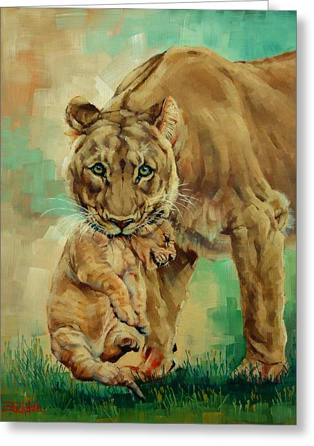 Margaret Stockdale Greeting Cards - Lioness And Cub Greeting Card by Margaret Stockdale