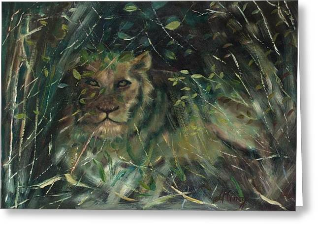 Lioness Greeting Cards - Lioness Den Greeting Card by Sally Arroyo