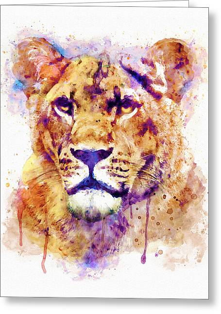 Modern Digital Art Digital Art Greeting Cards - Lioness Head Greeting Card by Marian Voicu