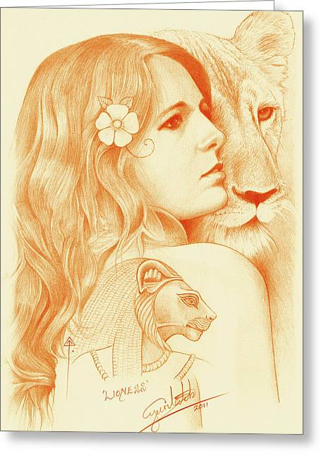Lioness Drawings Greeting Cards - Lioness Greeting Card by Yuri Leitch