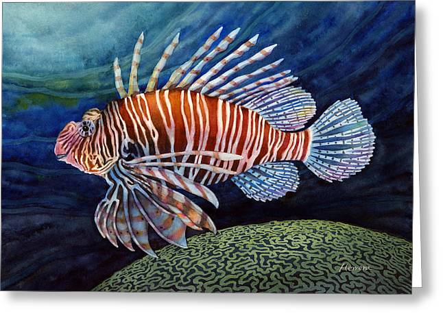 Brain Paintings Greeting Cards - Lionfish Greeting Card by Hailey E Herrera