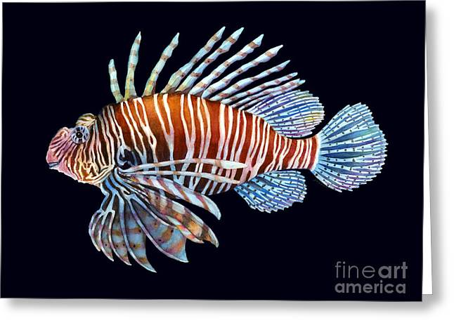 Brain Paintings Greeting Cards - Lionfish in Black Greeting Card by Hailey E Herrera