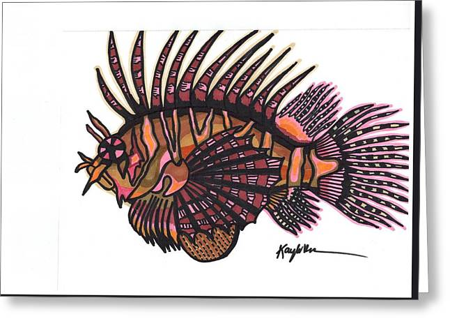 Reef Fish Drawings Greeting Cards - Lionfish Greeting Card by Kayla Roeber