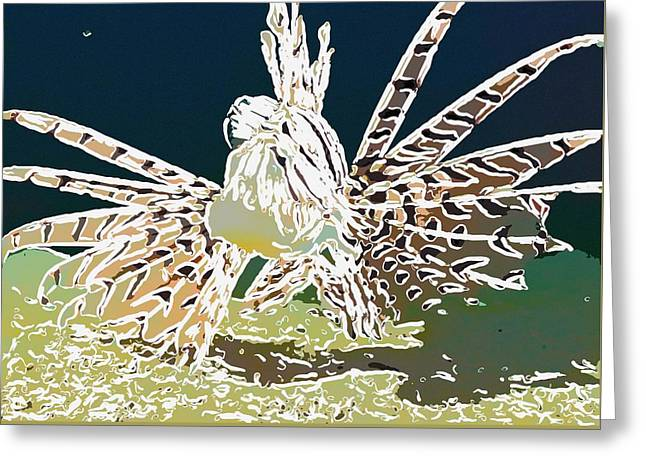 Underwater Photos Paintings Greeting Cards - Lionfish Greeting Card by Lanjee Chee
