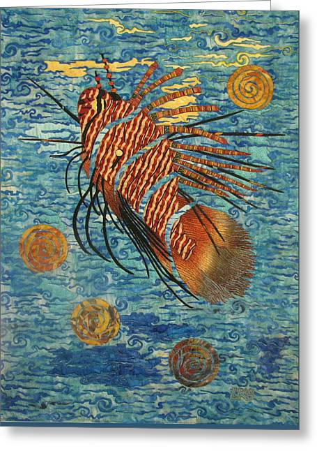 Collage Tapestries - Textiles Greeting Cards - Lionfish Greeting Card by Lynda K Boardman