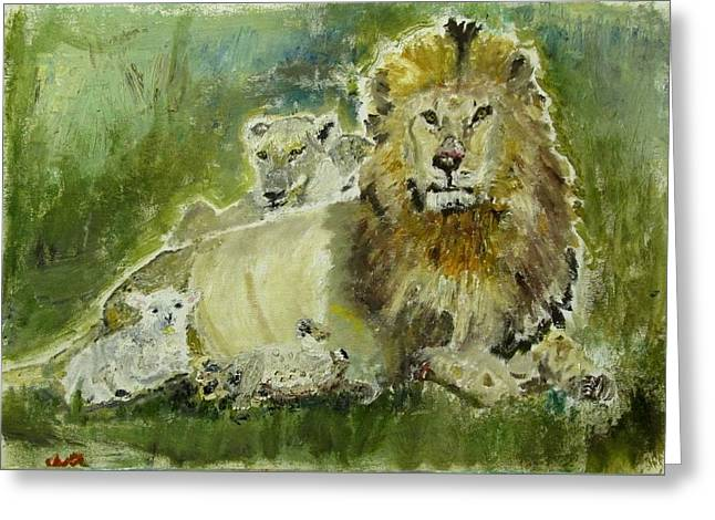 Lion And Lamb Greeting Cards - Lions and Lambs Greeting Card by Julien Radoff