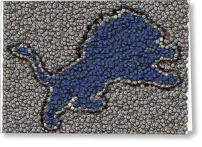 Lions Bottle Cap Mosaic Greeting Card by Paul Van Scott