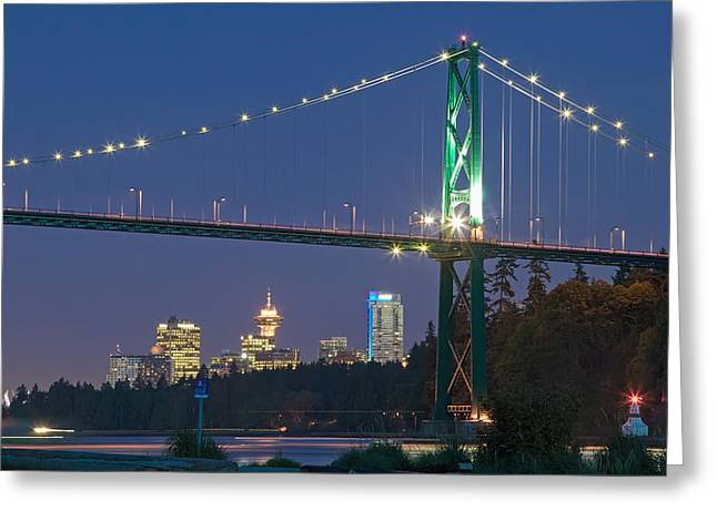 West Vancouver Greeting Cards - Lions Gate Bridge And Downtown Greeting Card by Insight Photography