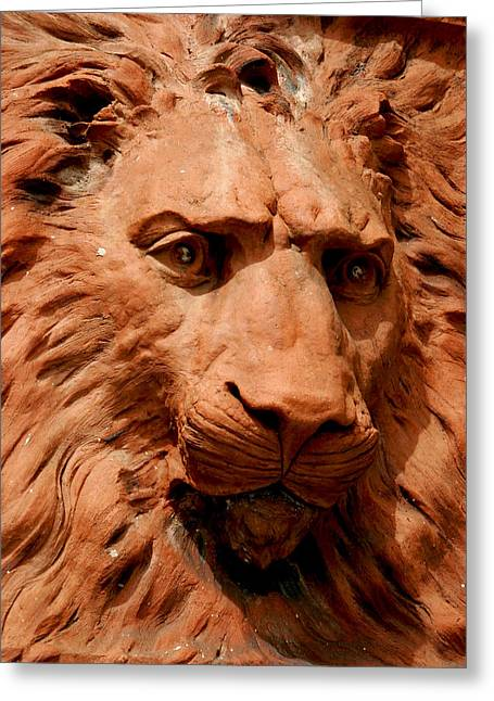 Best Sellers -  - Marble Eye Greeting Cards - Lions Head Greeting Card by Jeffrey Zipay