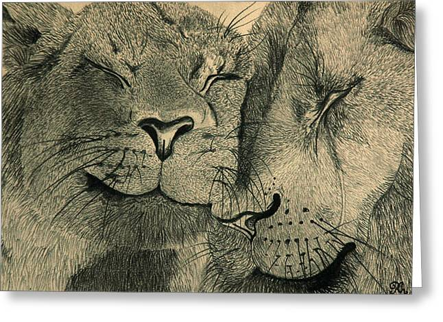 Animals Love Drawings Greeting Cards - Lions in Love Greeting Card by Ramneek Narang