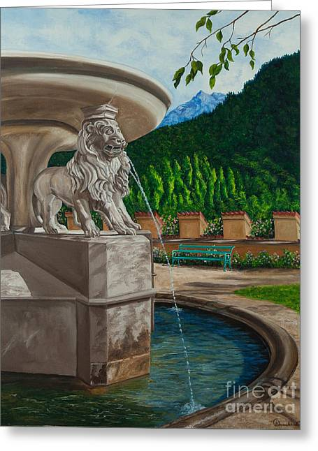 Lions Of Bavaria Greeting Card by Charlotte Blanchard