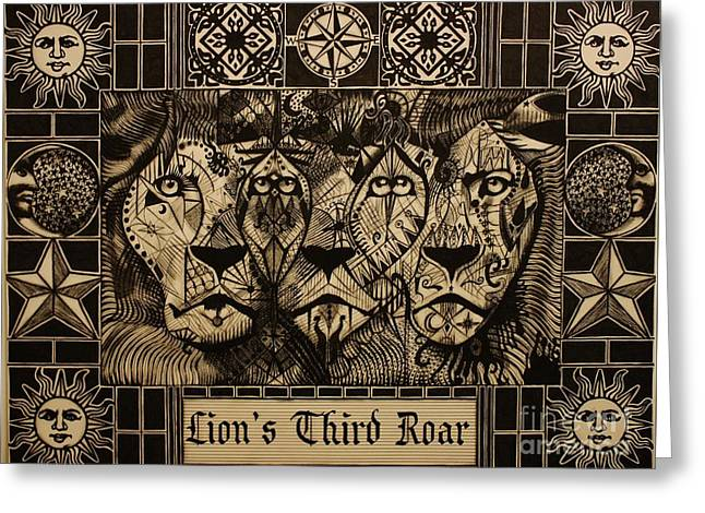 Lion's Third Roar Greeting Card by Michael Kulick