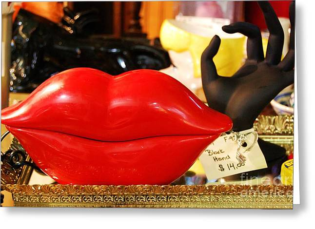 Quirky Greeting Cards - Lips Greeting Card by Debbi Granruth