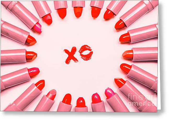 Lipstick Kisses Xo Greeting Card by Jorgo Photography - Wall Art Gallery