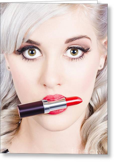 Wellbeing Greeting Cards - Lipstick makeup and lipgloss. Make-up professional Greeting Card by Ryan Jorgensen