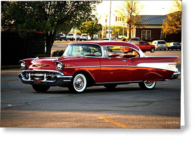 Chevrolet Greeting Cards - Lipstick Red Chevrolet Bel Air Greeting Card by Lesa Fine