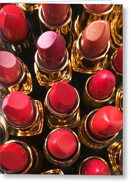Lipstick Greeting Cards - Lipstick Rows Greeting Card by Garry Gay