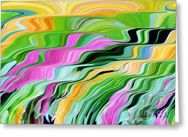 Geometrical Art Greeting Cards - Liquid Colors Greeting Card by D Hackett