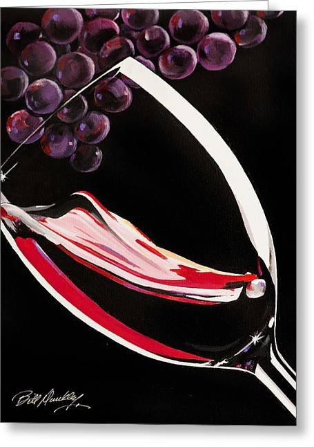 Wine-glass Greeting Cards - Liquid Grapes Greeting Card by Bill Dunkley