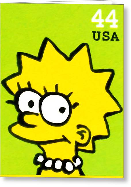 Canadian Culture Paintings Greeting Cards - Lisa Simpson Greeting Card by Lanjee Chee