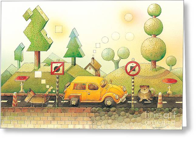 Cat Drawings Greeting Cards - Lisas Journey02 Greeting Card by Kestutis Kasparavicius