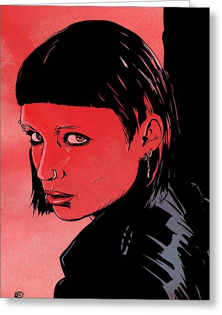 Girl Drawings Greeting Cards - Lisbeth Salander Mara Rooney Greeting Card by Giuseppe Cristiano