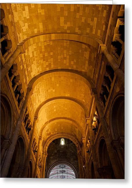 Lisbon Cathedral Interior With Barrel Vault Greeting Card by Artur Bogacki