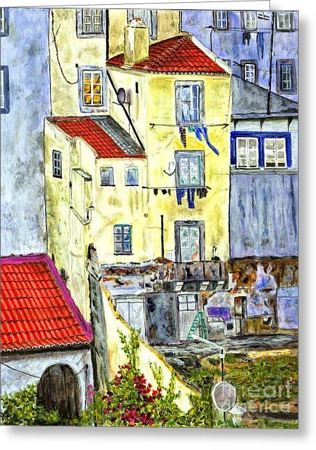 Disk Paintings Greeting Cards - Lisbon Home Painting Greeting Card by Timothy Hacker