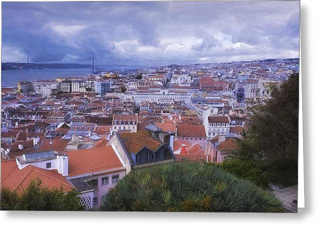 Greeting Cards - Lisbon Portrait Painterly Greeting Card by Joan Carroll