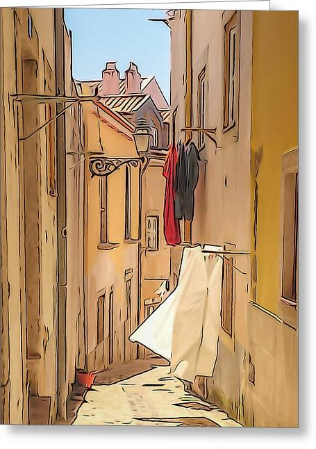 Lisbon Street #2 Greeting Card by Tom and Pat Cory