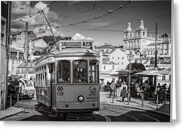 Greeting Cards - Lisbon Tram BW Greeting Card by Joan Carroll
