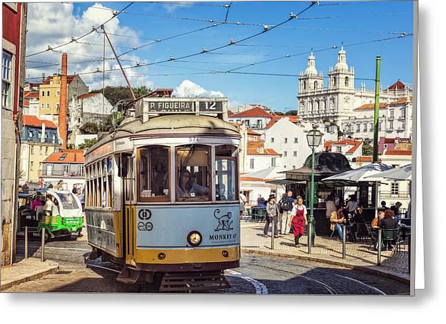 Greeting Cards - Lisbon Tram Greeting Card by Joan Carroll